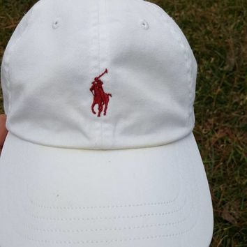 Vtg White Polo Ralph Lauren  Strapback dad hat maroon Horse cap USC South Carolina Gamecocks