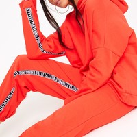 Red PrettyLittleThing Branded Oversized Hoodie