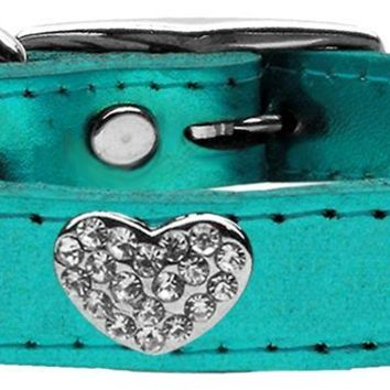 Crystal Heart Genuine Metallic Leather Dog Collar Turquoise 18