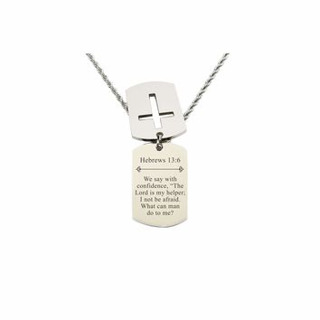 Mens Scripture Double Tag Necklace - Hebrews 13:6