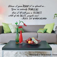 Alice In Wonderland Inspired Best People Are Bonkers Quote Wall Vinyl Decal