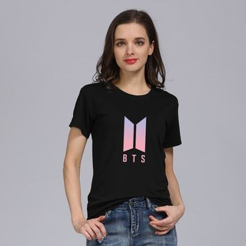Kpop BTS Bangtan Boys Women T shirts 2018 New Arrivals Summer Short Sleeved bts T-shirt Women Tshirt Tee shirt K-pop Accessories