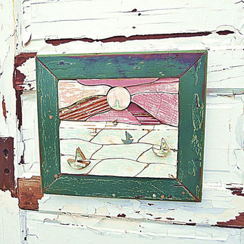 Sailboat Wall Art, Wood Mosaic Art, Beach Sunset Art, Nautical Decor, Beach House Decor, Reclaimed Wood Art, Coastal Decor, Framed Sunset