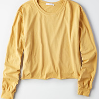 Don't Ask Why Long Sleeve Cutoff T-Shirt, Mustard