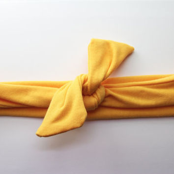 Golden Yellow Dolly Bow Tie Up Wire Headband, Hair Wrap. Teens, Adults, Children's Hair Wraps