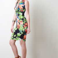 Twisted Floral Bodycon Dress