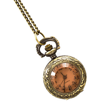 amber-faced antiqued watch necklace