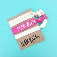 1 Set of 1,2 or 3 Hair Ties Team Bride Bachelorette Party Favors Accessories KIT Small Gift Hair Tie Party Favor
