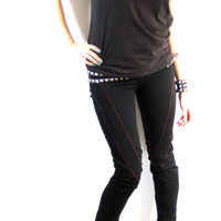 Black with Red Stitching Upcycled Goth Jeans