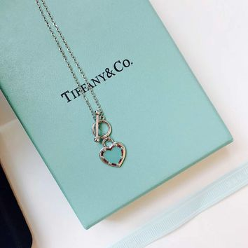 Tiffany & Co. Women Fashion Heart Blue Heart Brand Necklace