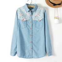 Sweet Floral Spliced Long Sleeve Slim Shirts