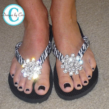 Rhinestone Zebra Flip Flops Bling  Buckle Jewel Bubbles Silver and Black Mom Girl Boutique Ribbon Flip Flops choose your ribbon color