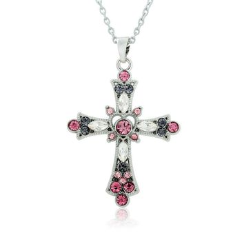 Fashion Purple and Pink Crystal Cross Pendant Necklace for Teens and Women