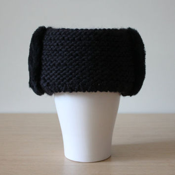 Fur trimmed headband, Fur earmuffs, Wide knit headband, Black chunky knit headband, Recycled mouton fur