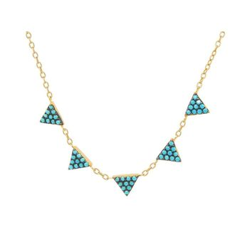 "Minimalist Turquoise CZ Triangles Necklace: Silver Sterling Gold Plated, 15.5"" + 1.5"" Extension"