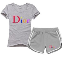 Dior Women Men Fashion Cotton Sport Shirt Shorts Set Two-Piece Sportswear
