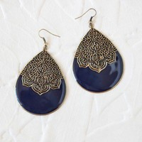 distant treasures teardrop earrings in navy at ShopRuche.com