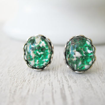 Vintage Style Green and Black Stud earrings, Handmade vintage cabochons, antique silver settings, summer jewelry, gift for teen post earring