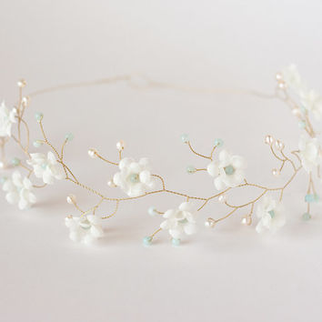 White wedding hair accessory mint amazonite and pearls, Floral crown, Bridal crown, Gold tiara Flower crown, Wedding crown, Flower girl.