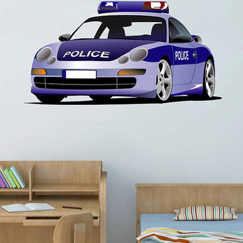 kcik75 Full Color Wall decal Police car transport bedroom children's room