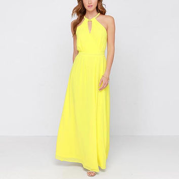 Yellow Halter A-Line Chiffon Maxi Dress