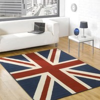 "Large Buckingham Great Britain Flag Union Jack Design Blue Red White Rug 4' x 5'3"" (120 x 160 cm) Carpet"