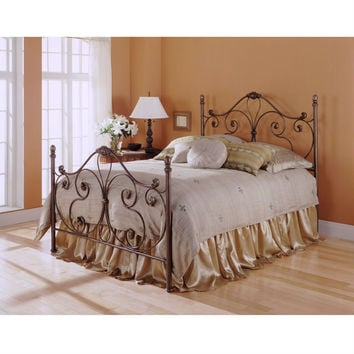 Queen Size Metal Bed with Headboard and Footboard in Majestic Finish