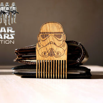 Star Wars Stormtrooper Mask Beard Mustache Comb Wooden comb Gift idea Men For Him Fathers Day Gift Gift for Him Husband Gift Friend Gift