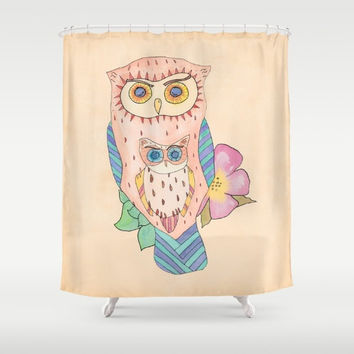 Owl Shower Curtain - Southwestern Owl peach, turquoise, terracotta, watercolor,  decor, home