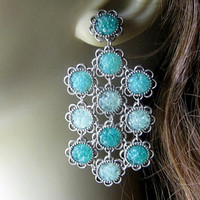 Stained Glass Chandelier Earrings, Unique Big Earrings, Statement Earrings, Aquamarine Earrings