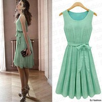 Women's Elegance Bow Pleated Vest Chiffon Dress