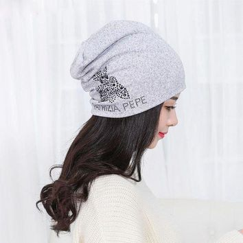 IKCKU62 New Women's Beanie Bonnet Cotton Autumn Winter Warm Caps knitted Hip-hop Cap Cute Bear Design Skullies with Diamond Hats Female