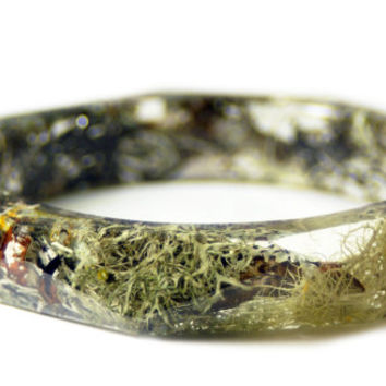 Green Bracelet- Lichen Bracelet- Flower Jewelry- Resin Jewelry- Flower Bangle- Flower Bracelet