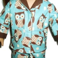 Aqua n Brown Owls Pajama Pjs 18 inch doll clothes fits American Girl