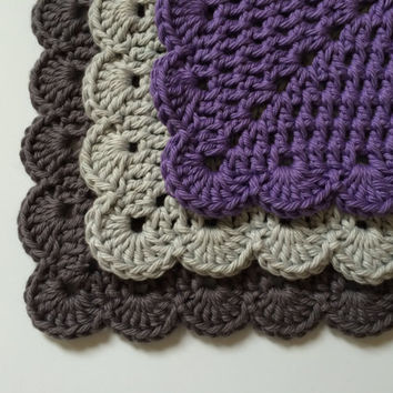 Dishes Cloths Colorful 100% Cotton Wash Cloths Kitchen Accessories - Amethyst, Dove Grey, and Pewter