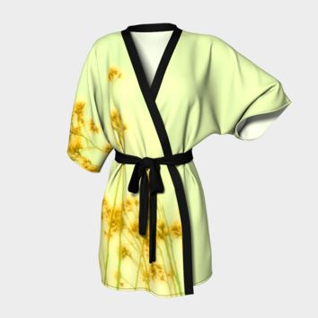 Art Kimono Robe - Kimono Robe - Womens Robe - Sage and Yellow Robe - Sexy Kimono Robe - Sexy Robe - Elegant Robe - Art Fashion - Art Pajamas