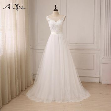 ADLN Cheap Lace Wedding Dress O-Neck Tulle Boho Summer Beach Bridal Gown Bohemian Wedding Gowns Robe De Mariage