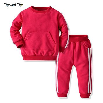 Top and Top Autmn&Winter Fashion Unisex Baby Striped Clothing Sets Pullover Sweatshirt+Pants Boys Casual Clothes Tracksuit Bebes