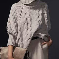 Cable Knit Turtle Neck Batwing Sweater