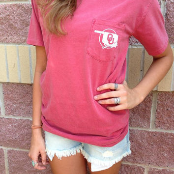 OU prep comfort colors pocket t-shirt