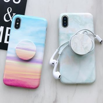 Fashion colorful Pink Marble Cute Stand Case