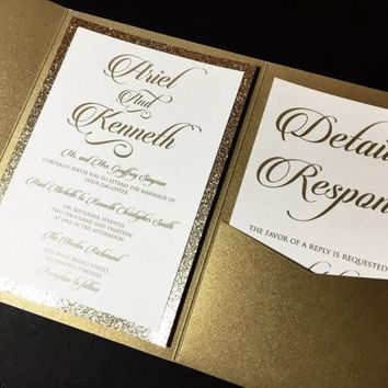 Gold Glitter and White Wedding Invitation, Pocketfold Wedding Invitation - ARIEL VERSION