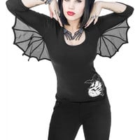 Kreepsville 666 Gothic Dark Side Bat Wings Sleeve Hoodie Black Top