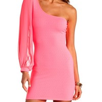 NEON ONE SHOULDER TEXTURED BODYCON DRESS