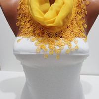 Women  Yellow Cotton Shawl / Scarf - Headband - Cowl with Lace Edge