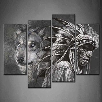 Black And White Wolf With Native American 4 Panel Wall Art-hds