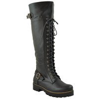 Womens Lace Up Knee High Combat Boots Black