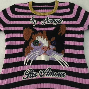 Women's Pink And Black Cashmere Merino Wool Striped Sweater Womens Crewneck Cat Applique Embroidered Knitted Sweaters Pullover