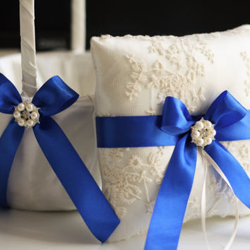Royal Blue Ring Bearer Pillow and Wedding Basket Set \ Blue Wedding Ring Pillow and Flower Girl Basket \ Ivory Blue Lace Pillow Basket Set