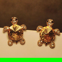 Cutie Turtle Full Rhinestone Earrings
